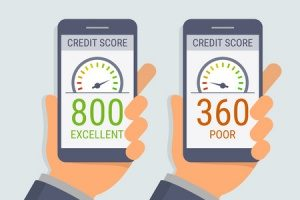 picture of two credit scores, a good and bad one