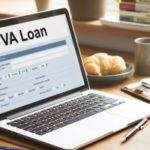 a VA home loan application that a retired military vet is filing out on his laptop computer