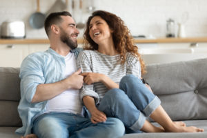 the first time home buyers rejoice in their new home