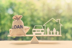 mortgage and payday loan or cash advance concept